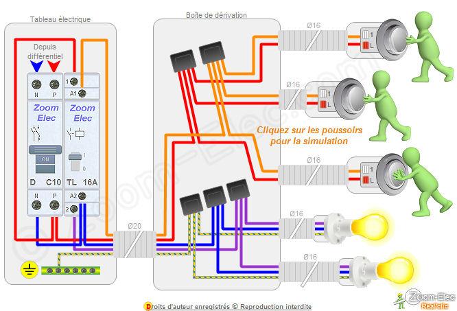 Montage c blage branchement d un t l rupteur et boutons - Boite de derivation electrique norme ...