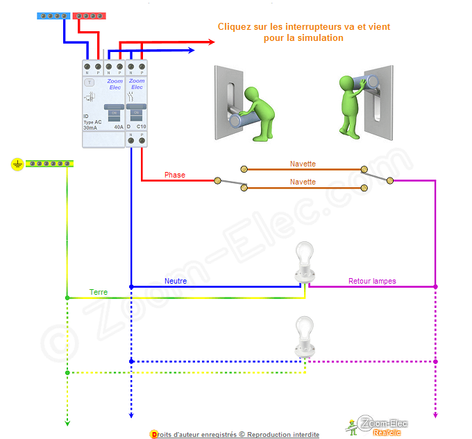 Sch ma va et vient schema lectrique interactif d un va - Brancher interrupteur va et vient ...