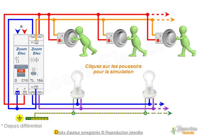 Schéma Télérupteur Bipolaire Double Ou 2 Contacts Et Boutons Poussoirs
