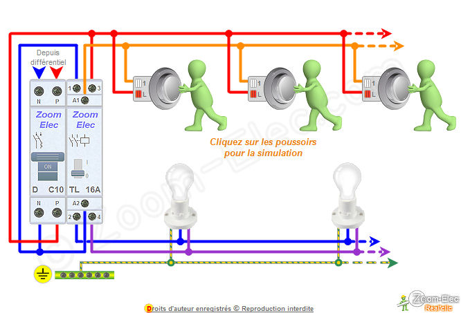 Schma tlrupteur bipolaire double ou 2 contacts et boutons poussoirs - Branchement d un telerupteur ...