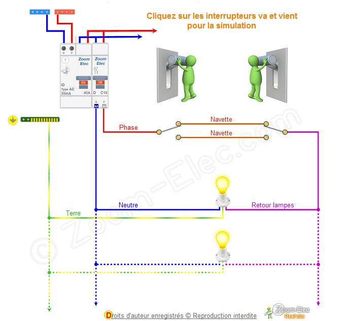 Sch ma va et vient schema lectrique interactif d un va - Schema va et vient electrique ...
