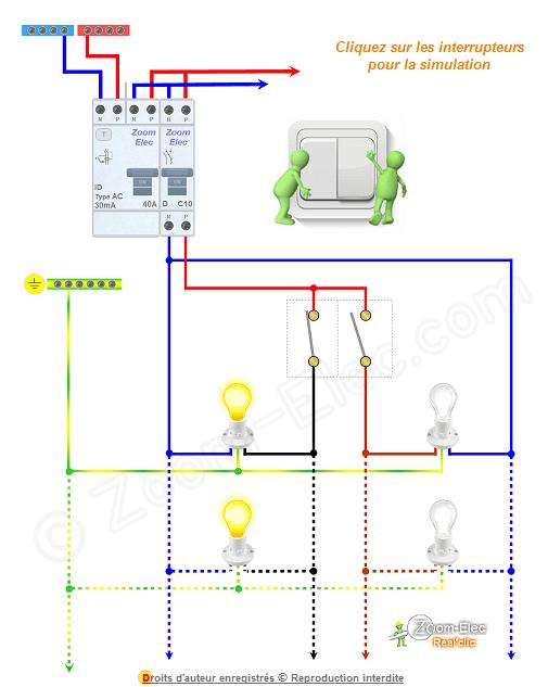 sch ma et branchement d 39 un interrupteur double allumage. Black Bedroom Furniture Sets. Home Design Ideas