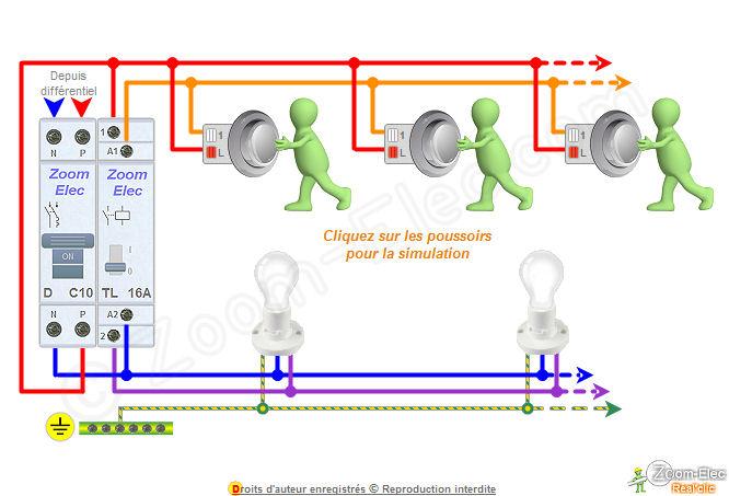 Schma tlrupteur schma lectrique interactif dun tlrupteur - Branchement d un telerupteur ...