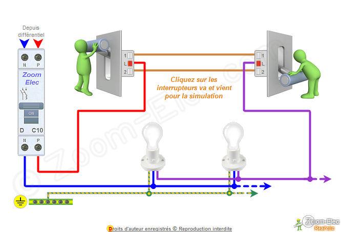 Schma va et vient schema lectrique interactif dun va et vient - Branchement d un telerupteur ...