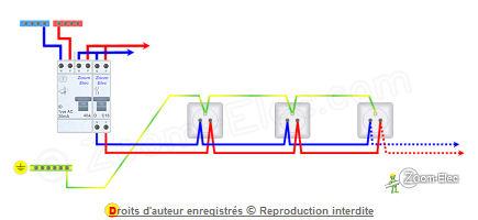 Sch ma prise lectrique prise de courant norme et c blage du circuit - Probleme electrique maison court circuit ...
